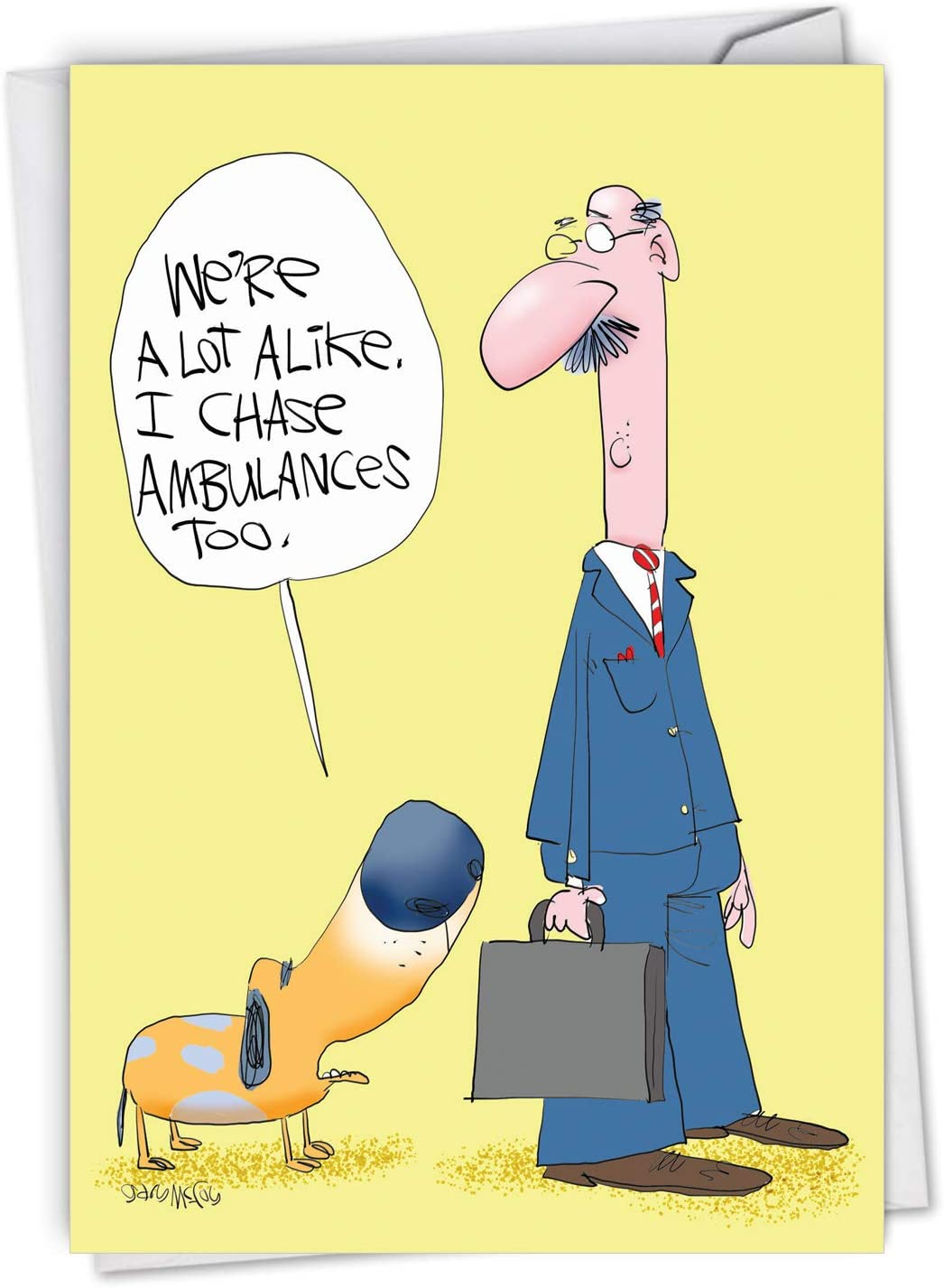 NobleWorks - Funny Get Well Soon Card with Envelope - Cartoon Humor, Feel Better Greeting - Ambulance Chasers C6958GWG