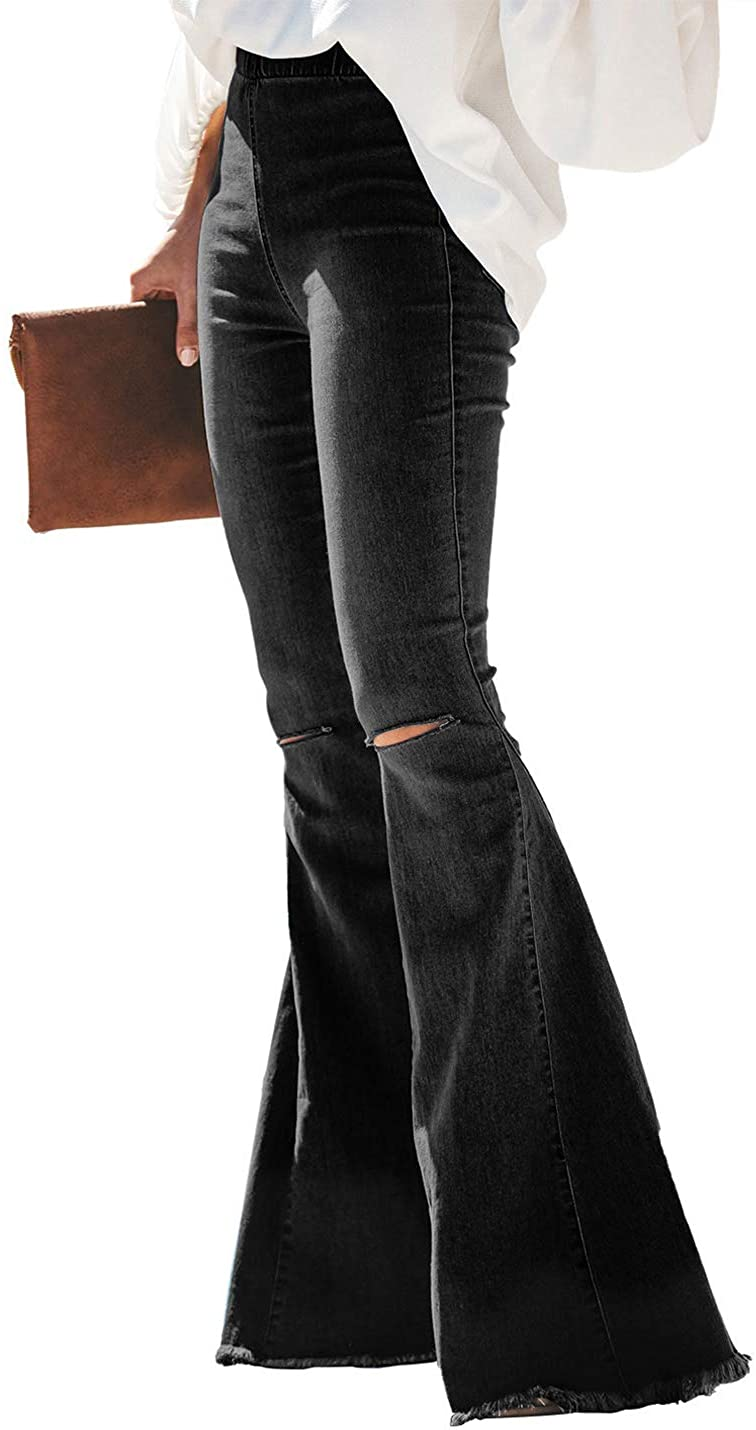 Uaneo Womens Denim Ripped Flare Fitted Elastic Waist Bell Bottom Raw Hem Jeans