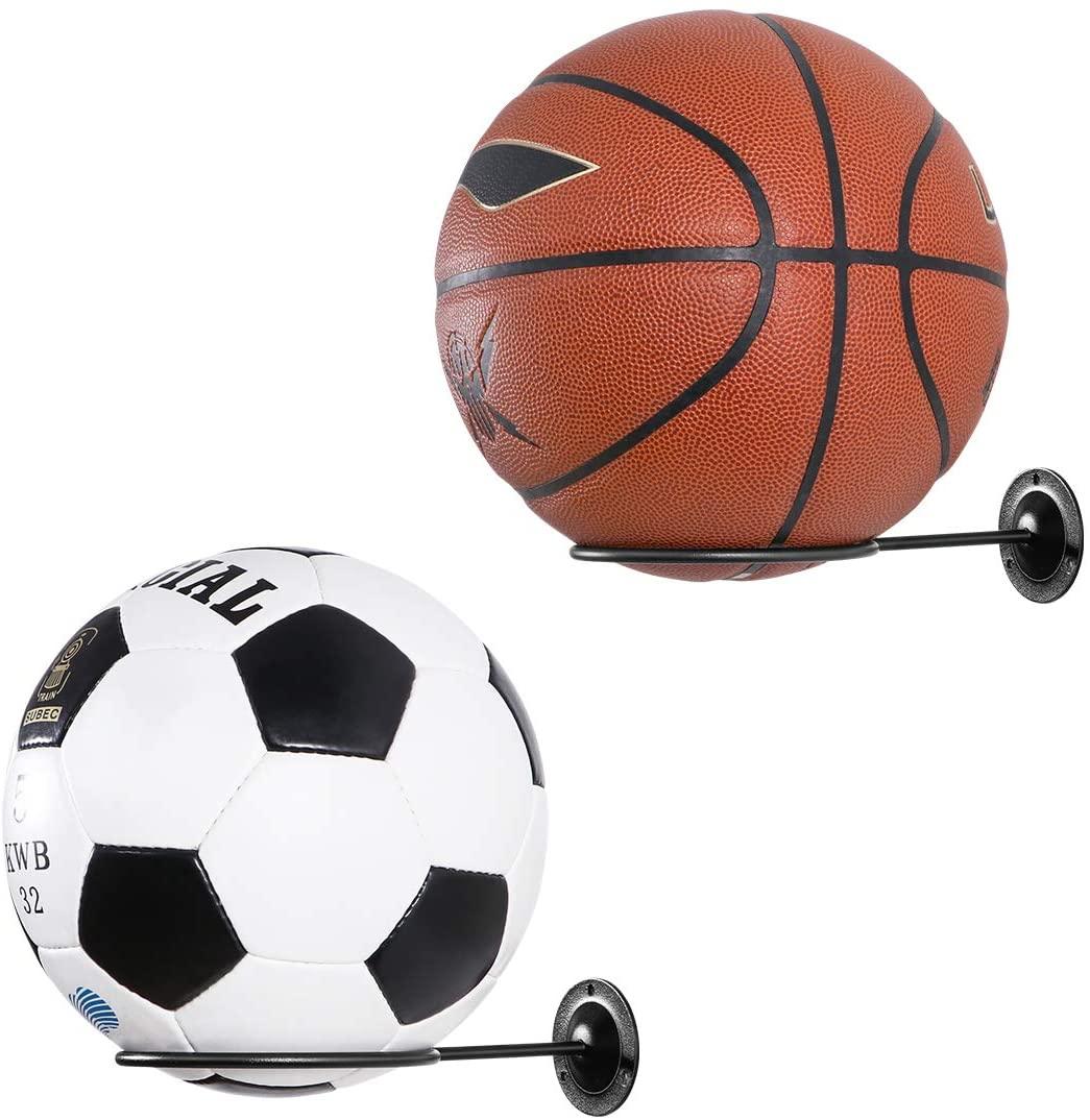 LIOOBO Universal Ball Holder Wall Mount Ball Storage Display Racks for Basketball Soccer Football Volleyball Exercise Ball 2PCS (Black)