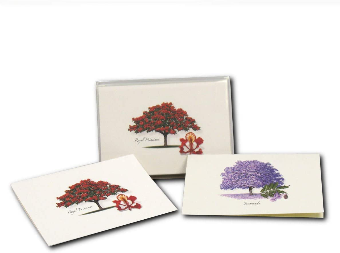 Earth Sky + Water - Jacaranda & Royal Poinciana Assortment Notecard Set - 8 Blank Cards with Envelopes (4 each of 2 styles)