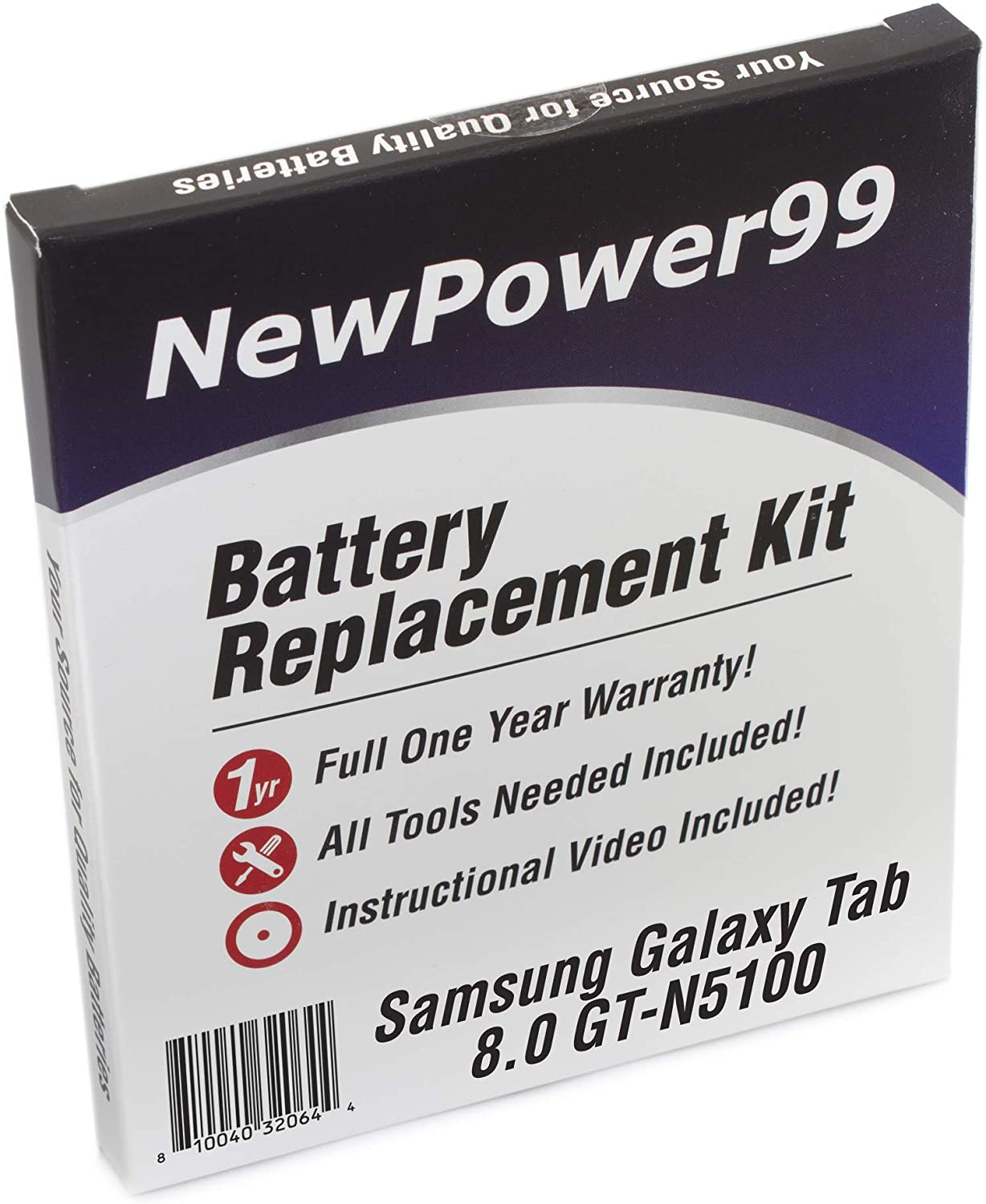 Battery Kit for Samsung Galaxy Note 8.0 GT-N5100 with Tools, How-to Video, Battery from NewPower99