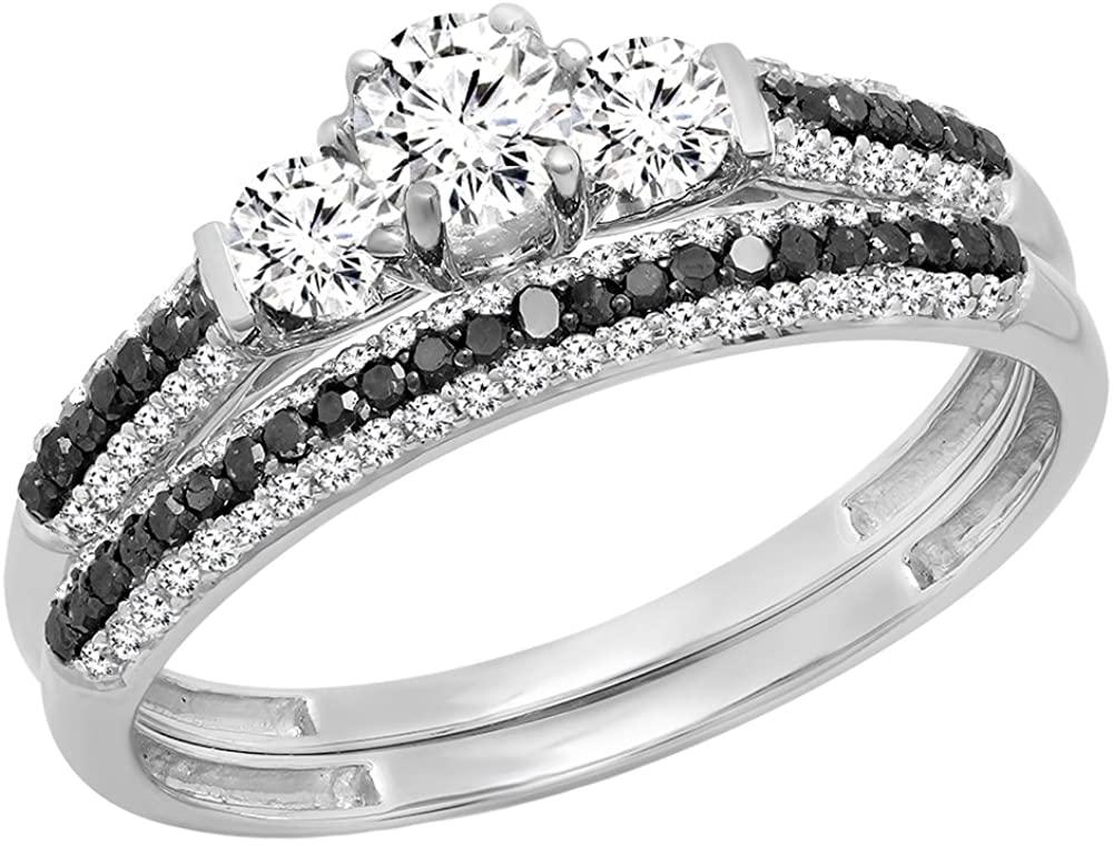 Dazzlingrock Collection 10K Gold 5 MM Round Center Stone White Sapphire, Black & White Diamond 3 Stone Engagement Ring Set