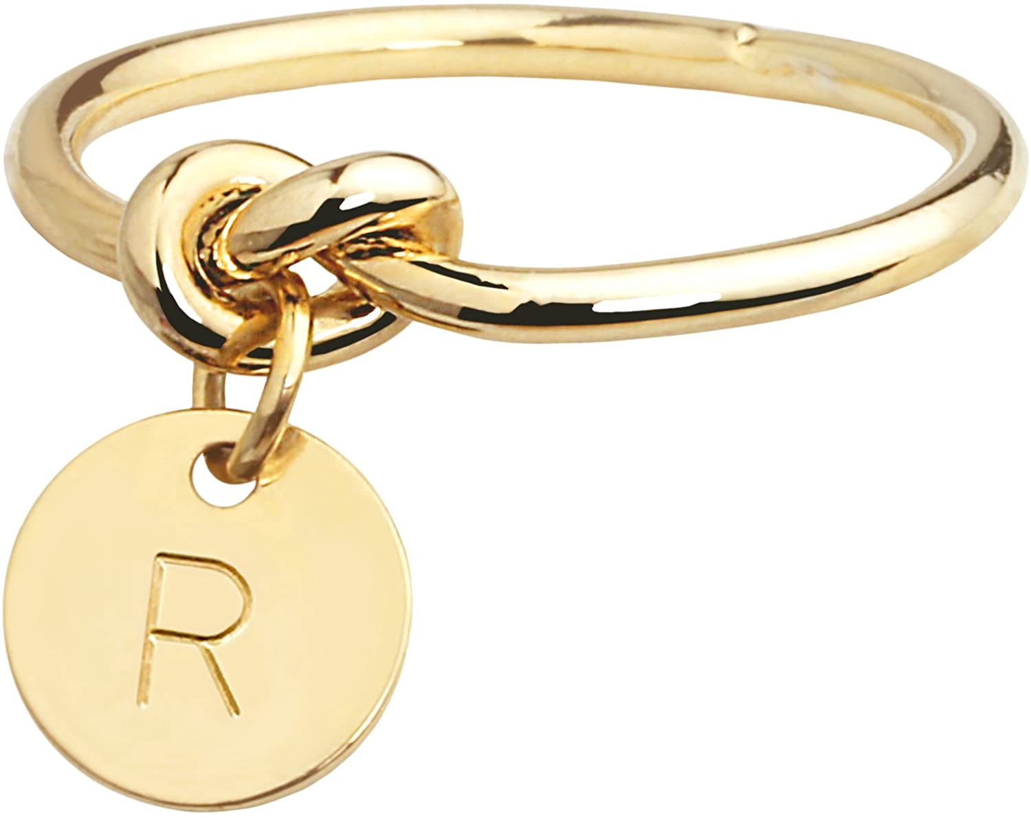 MignonandMignon Gold Knot Ring Midi Personalized Initial Ring Custom Bridesmaid Wedding Maid of Honor Gift for Her Tie The Knot Dainty Friendship Ring - RK-M-TC