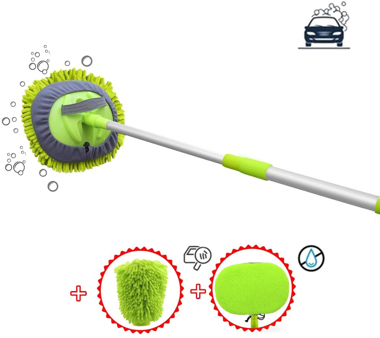 X XINDELL Car Washing Mop Brush 3pcs Kit, Wet-Dry Dual Head 45