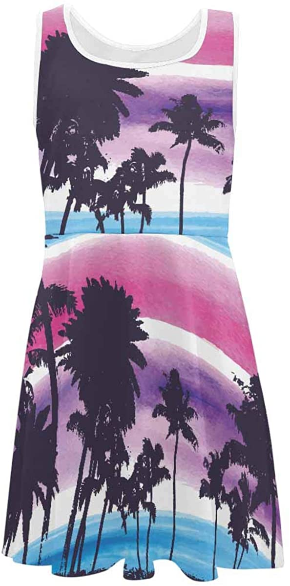 INTERESTPRINT Classic Girls Sleeveless Dress Summer Casual Dresses Palm Trees (2T-XL)