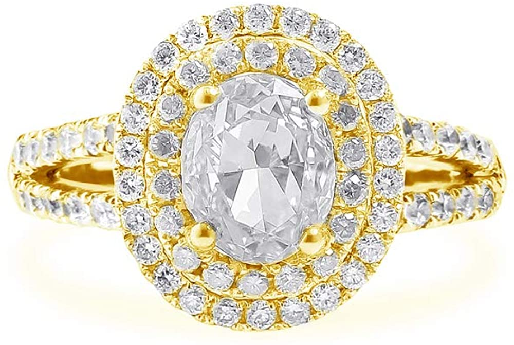 DUGISOWE 18K Gold Engagement Rings for Women 1.7 Carat(Ctw) Oval Moissanite Ring Personalized Engraving Name, 10K 14K White Gold Ring Proposal Ring Lovers Ring Wedding Ring