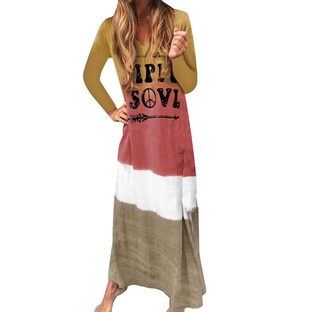 Fashion Women Long Sleeve Gradient Color Tie Dyeing Letter Print Long Dress Dress Long Sleeve Women Fashion Casual Print Party