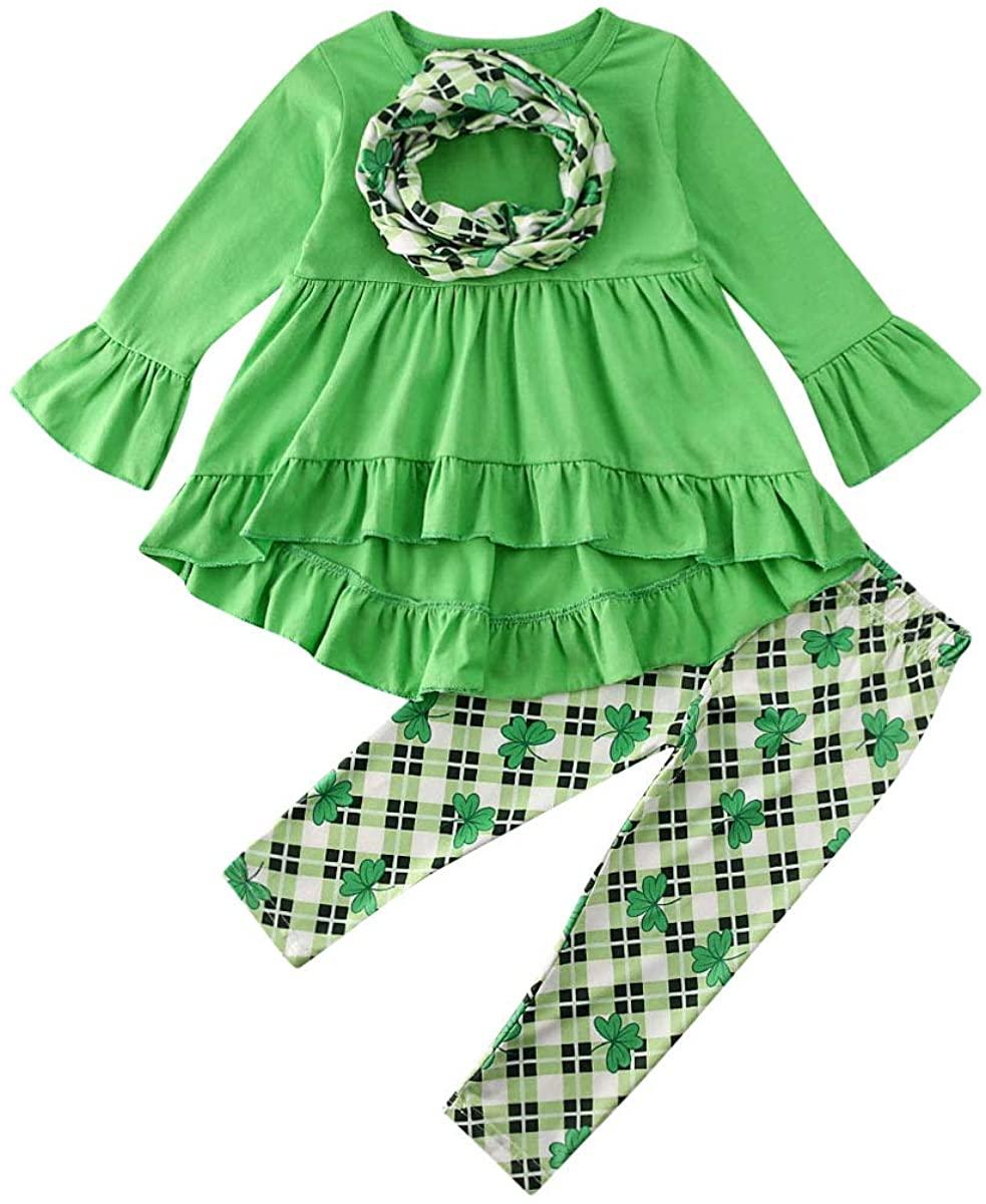 Toddler Baby Girl Saint Patrick's Day Clothes Ruffle Long Sleeve Dress Shirt+Clover Print Plaid Pants+Scarf 3PCS Outfit Set