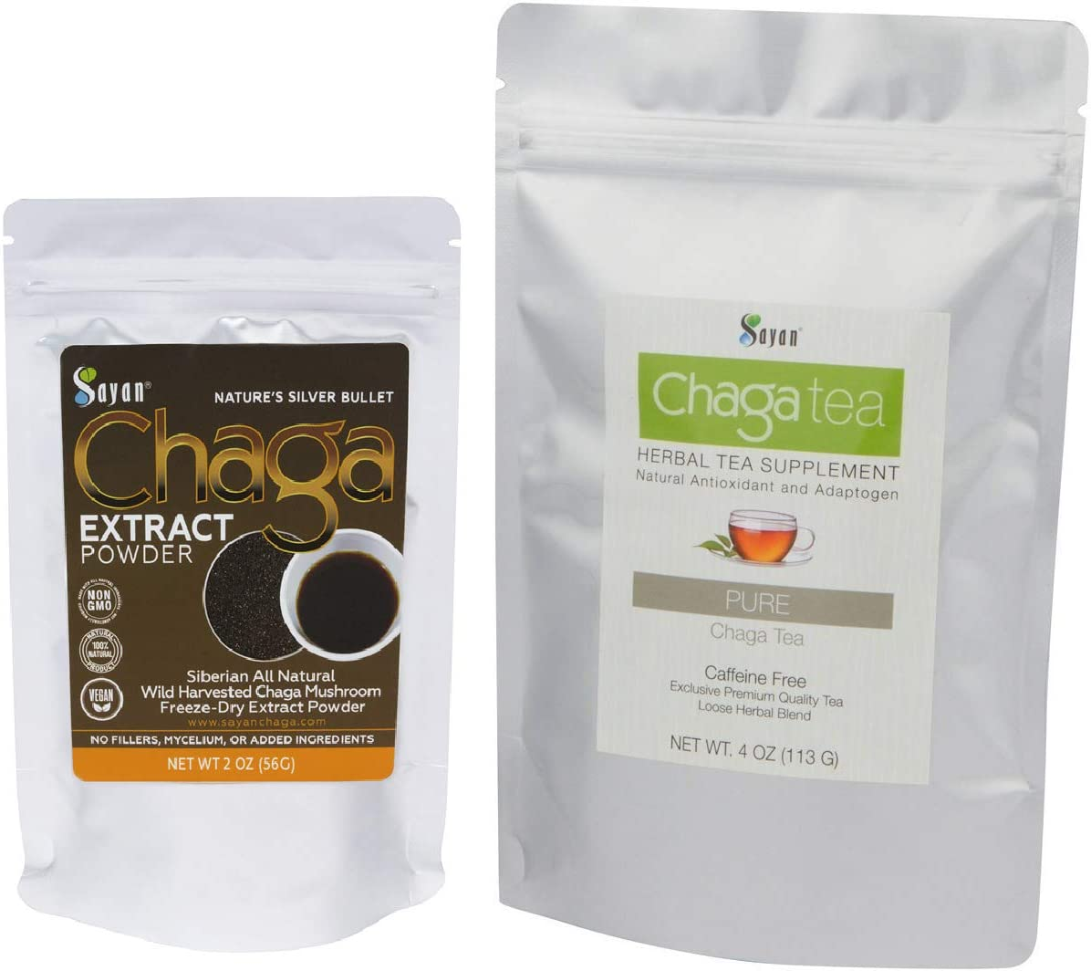 Sayan Siberian Wild Forest Chaga Mushroom 2 Oz Extract Powder and 4 Oz Loose Tea – Premium Antioxidant Booster Tea for Healthy Digestion - All Natural Immune System Support & Inflammation Reduction