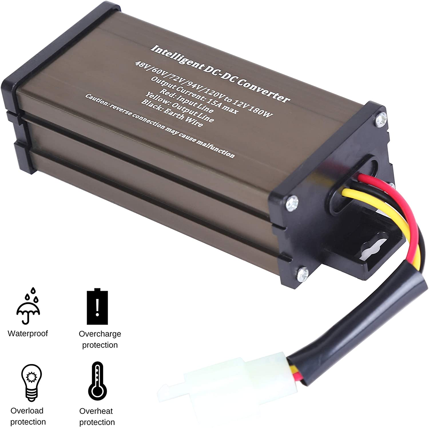 Pro Chaser DC-DC 120V 108V 96V 84V 72V 60V 48V Volt Voltage to 12V Step Down Voltage Reducer Regulator 180W 15A for Scooters & Bicycles Golf cart (15A 180W)