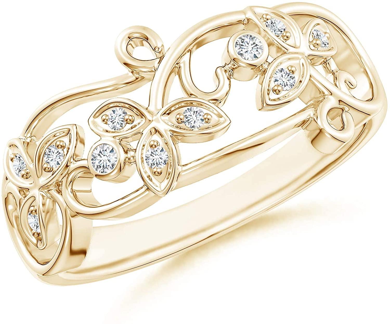 Vintage Style Diamond Flower Scroll Ring (1.5mm Diamond)