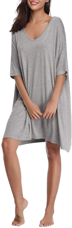 Abollria Women's Nightgown Short Sleeve Sleepshirts V Neck T-Shirt Dress Sleepwear