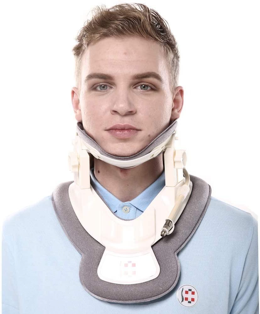Cervical Neck Traction Device - Neck Brace & Collar - Neck & Shoulder Pain Relief - Stretcher Massager for Home Improved Spine Alignment(White/Sliver)
