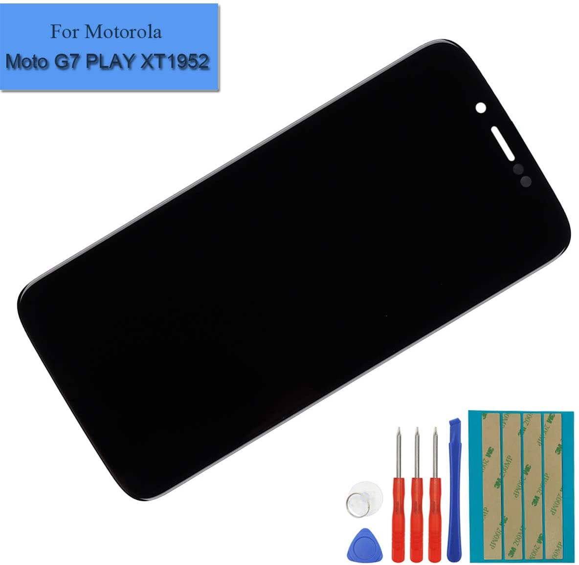 Replacement LCD Display Compatible for Motorola Moto G7 Play XT1952 LCD Touch Screen Digitizer Assembly with Adhesive and Toolkit (Black)