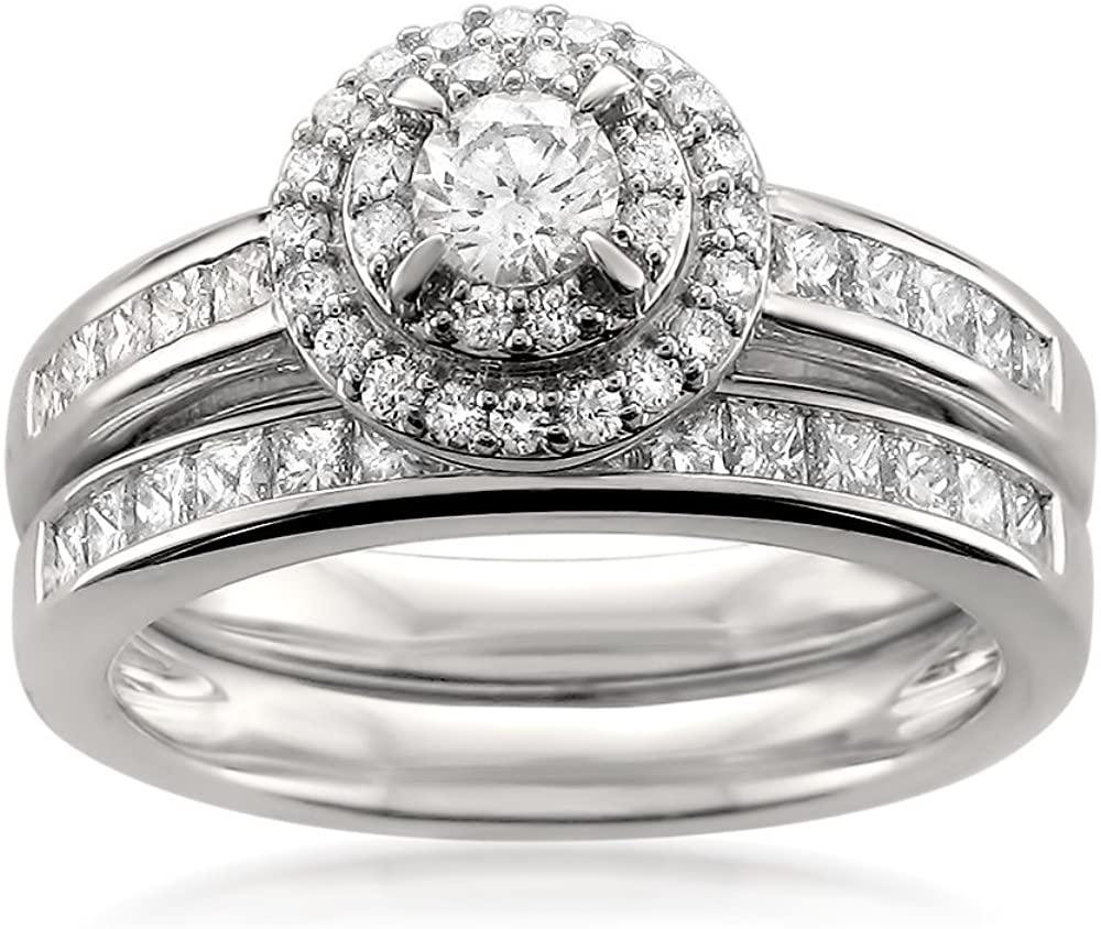 14k White Gold Round & Princess-cut Diamond Halo Engagement Bridal Set Wedding Ring (1 cttw, H-I, I1)
