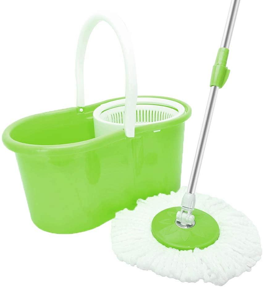 Microfiber Spin Mop Kit, BLL-19A 360-Degree EasyWring Rotary Head Ultra Slim Microfiber Mop Hardwood Floor Cleaner (Green)