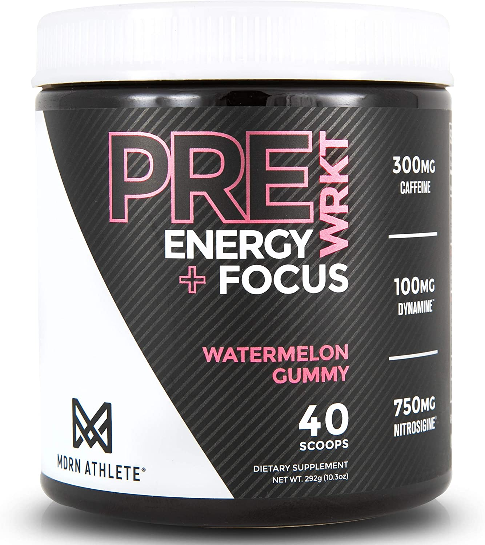 MDRN Athlete PreWRKT | Keto Friendly Pre-Workout | Enhanced Energy | Focus | Strength | Endurance | Nitric Oxide Pump & Blood Flow | Watermelon Gummy (40 Scoops) (Watermelon Gummy)