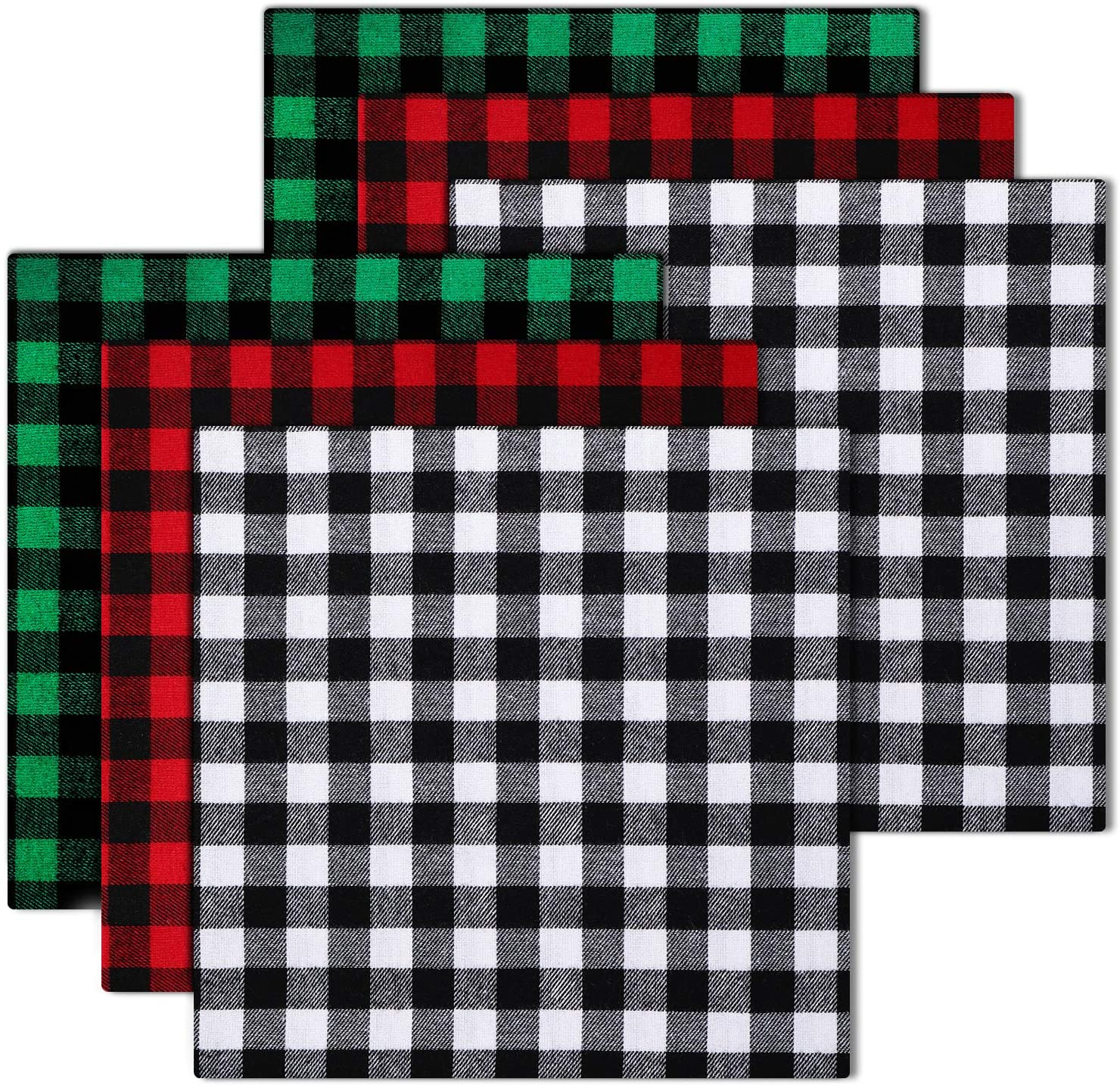 6 Pieces Christmas Buffalo Plaid Cotton Fabric 20 x 20 Inch Christmas Printing Quilting Fabric Squares Black and White Plaid Sewing Patchwork Fabric Christmas DIY Fabric for DIY Craft Supplies