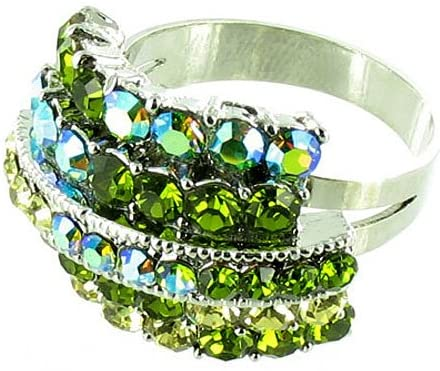 Green on Silver Plated Four Row Simple Bling Cocktail Ring