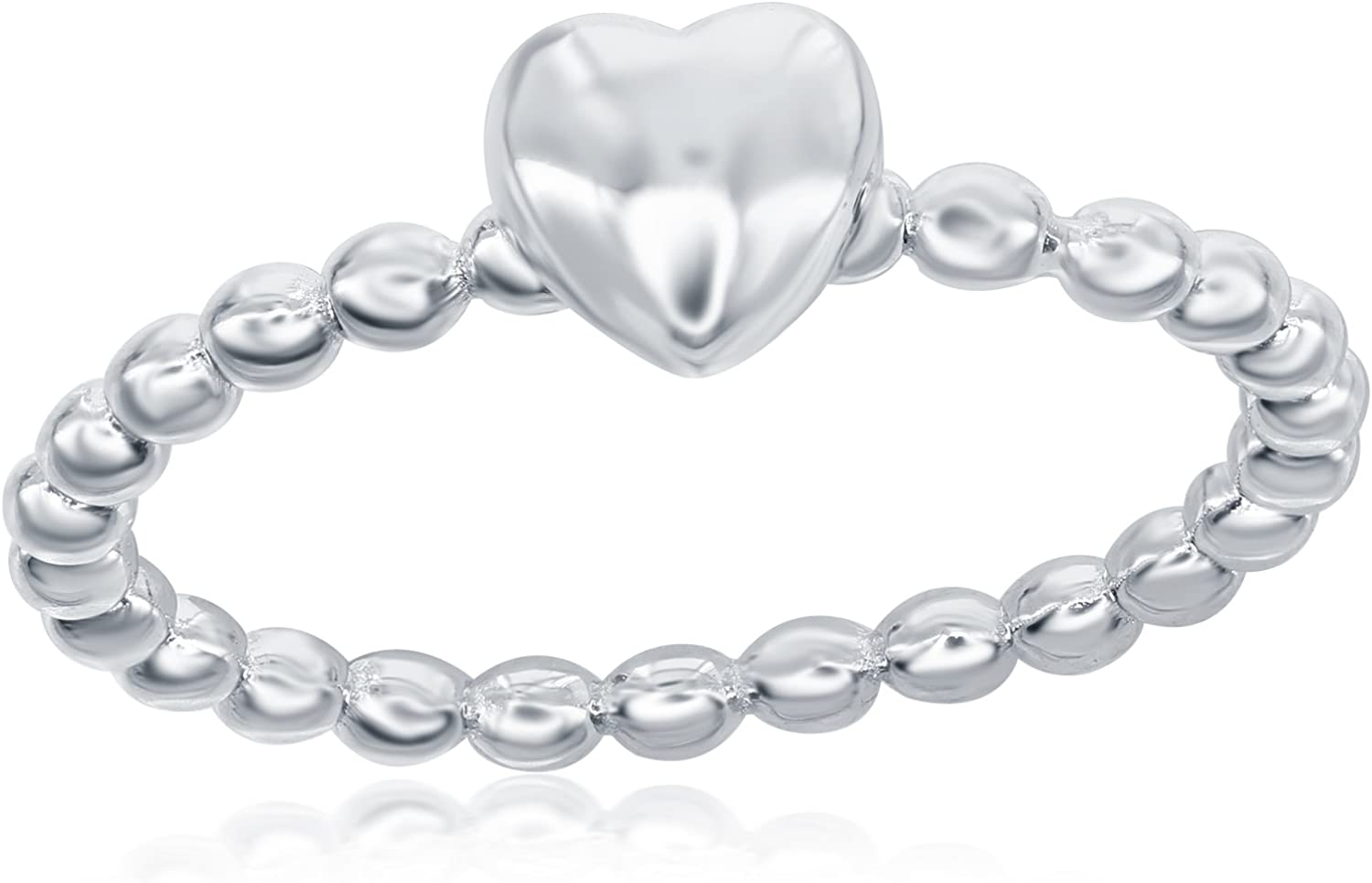 Sterling Silver Small Heart Beaded Band Ring