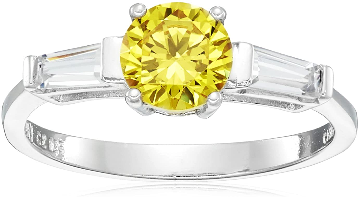 Rhodium Plated Sterling Silver Round Yellow Cubic Zirconia 6.25mm and White Cubic Zirconia Ring, Size 7