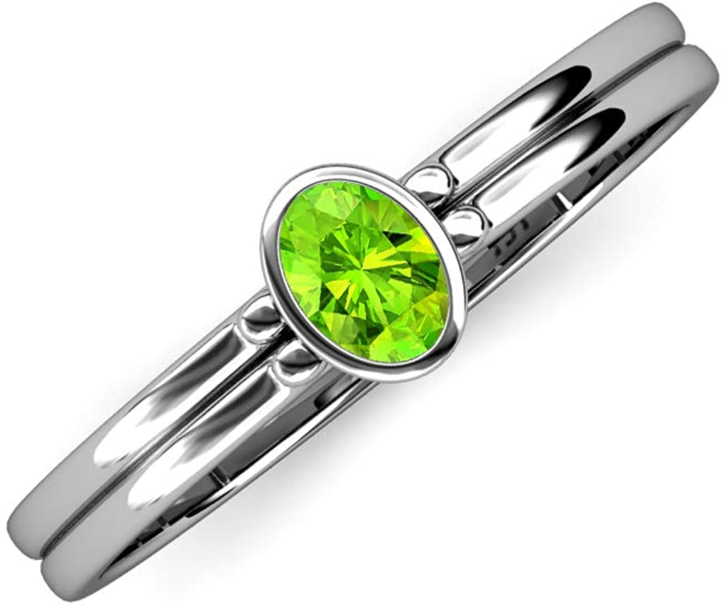 TriJewels Oval Cut 6x4 mm Peridot 1/2 ct Solitaire Engagement Ring 14K Gold