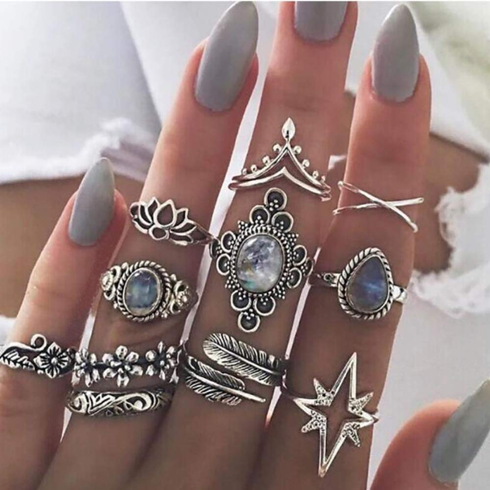 Missgrace Bohemian Vintage Knuckle Ring Set Vintage Silver Carving Blue Rhinestones Floral Boho Stackable Rings for Women 11Pcs (Style 6)