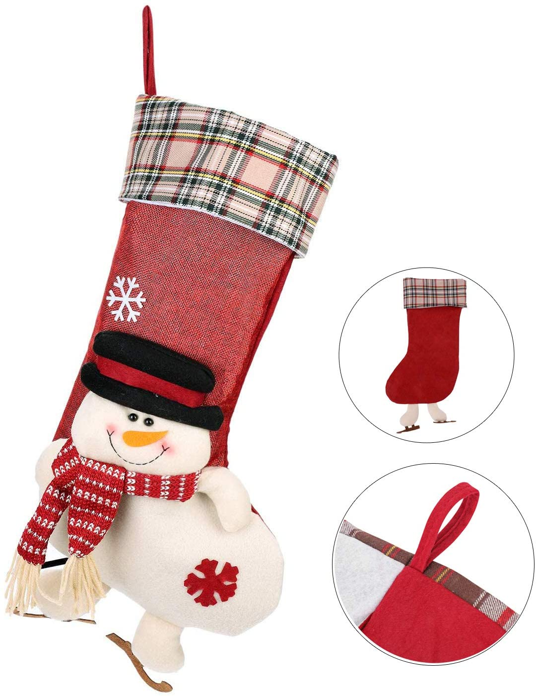 Christmas Stockings Holder Classic Snowman Santa Reindeer Fireplace Hanging Stockings Tree Decoration Christmas Ornament Large Candy Pouch Gift Bag 20X10 Inch