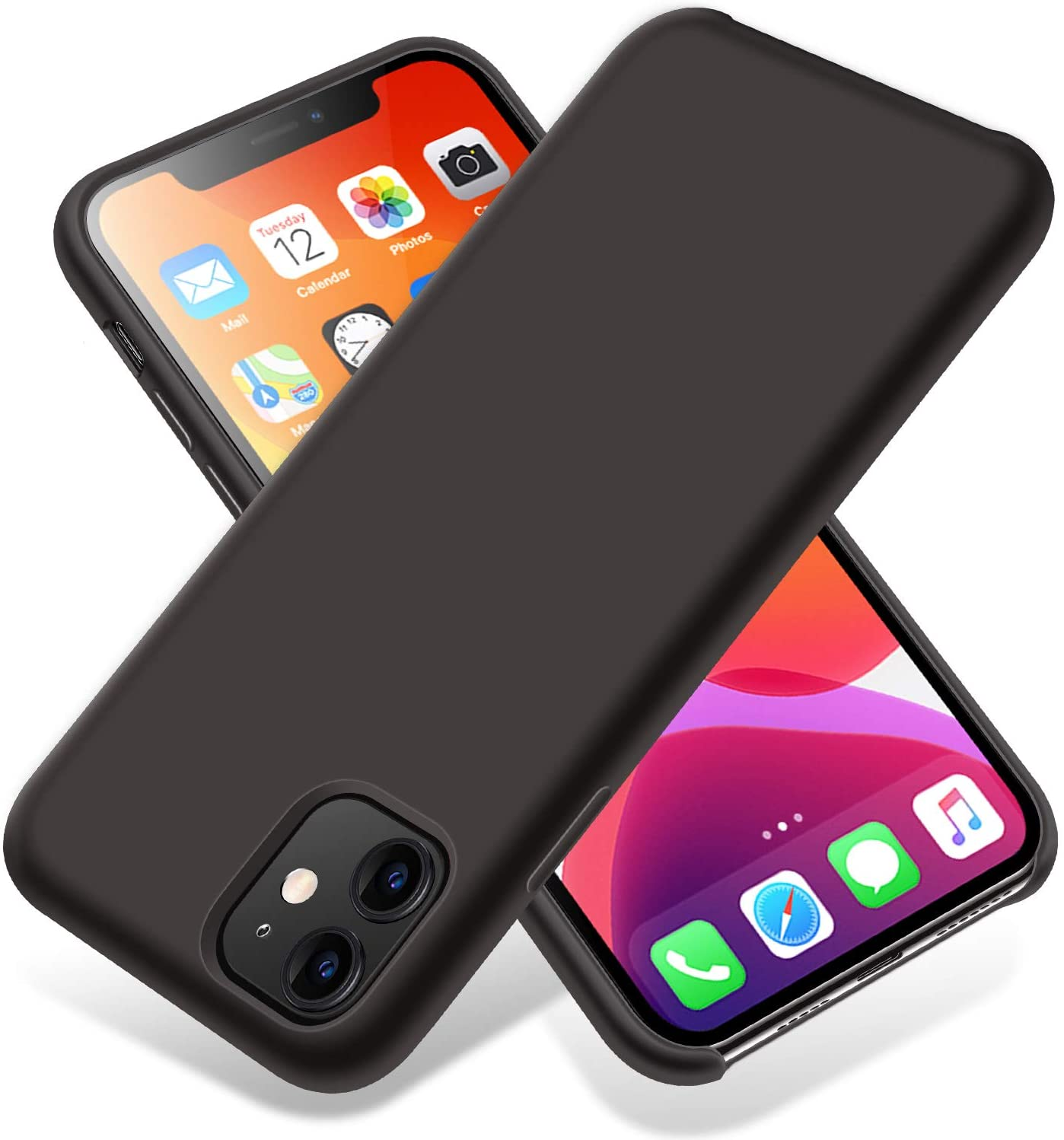 LZEB Silicone Case Compatible with iPhone 11 Case 6.1 inch, Liquid Silicone Phone Case (with Microfiber Lining) Full Body Thickening Design for iPhone 11 6.1 2019 (Black)