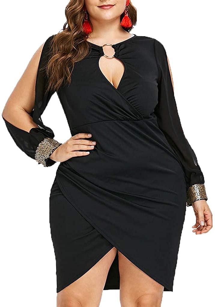 VANSOON Womens Dress Long Sleeve Sequin Plus Size Keyhole Neck Ring Slit Bodycon Dress Shift Dress Knee Length Dress