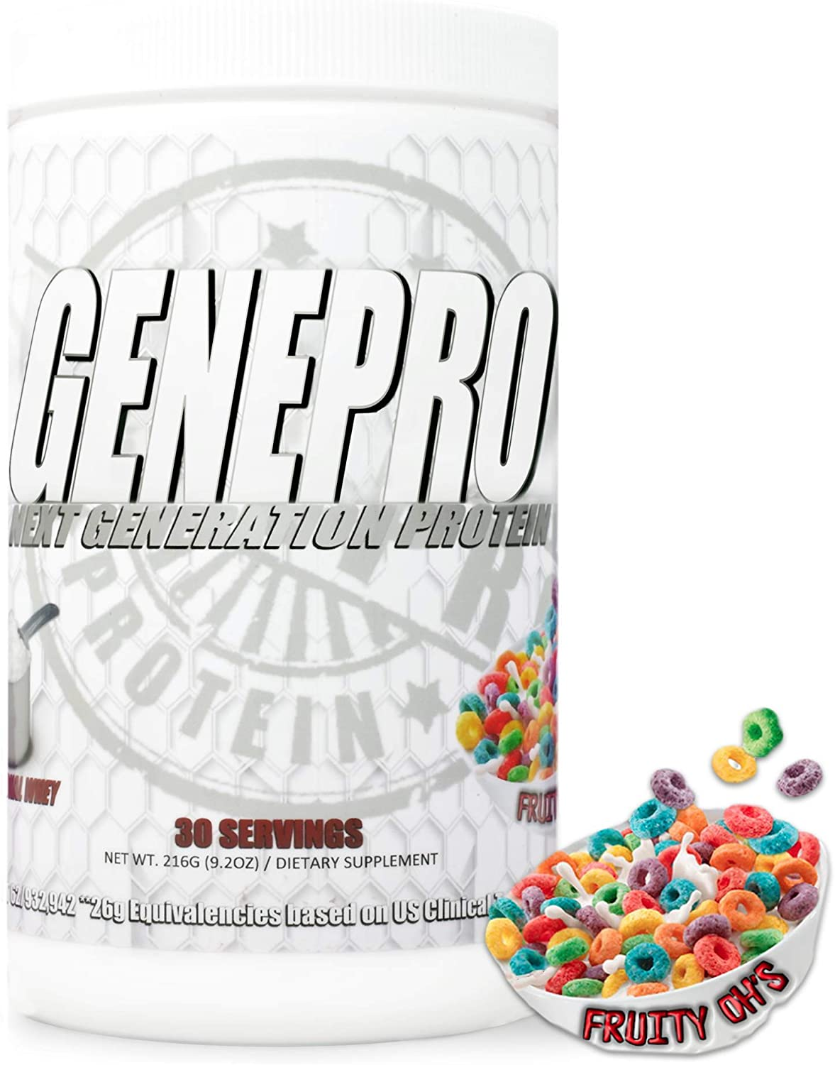 GENEPRO Protein Fruity Oh's Flavor, 30 Servings Size Premium Low-Calorie Protein for Absorption, Muscle Growth and Mix-Ability
