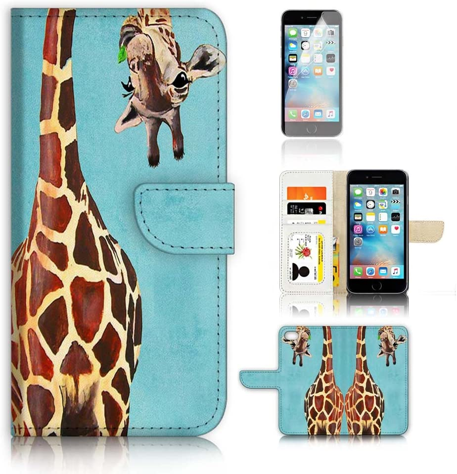 ( For iPhone 8 Plus / 7 Plus ) Flip Wallet Case Cover and Screen Protector Bundle A4131 Giraffe
