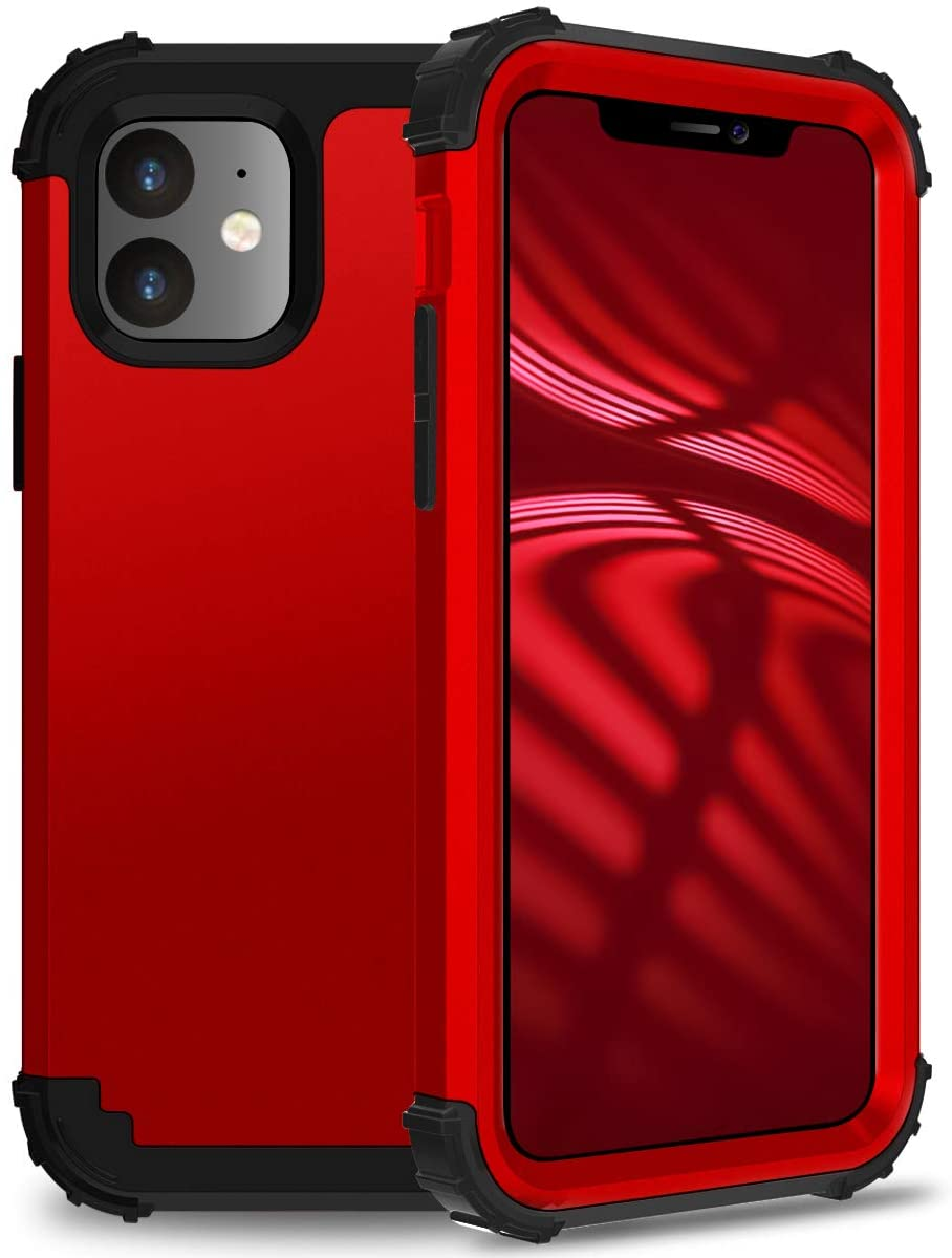 JSMY Compatible for iPhone 11 Case,Hard PC+Soft Silicone TPU 3in1 [Military Protective] Shockproof Phone case. (Red)