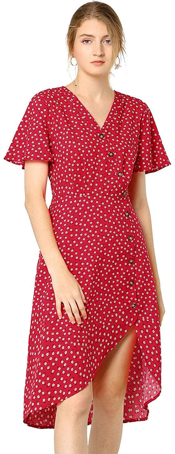 Allegra K Women's Floral Flutter Sleeve Dress Button Decor High Low Hem Dresses