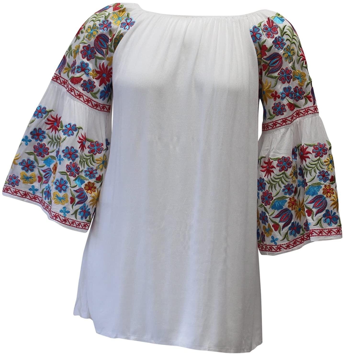 Velzera Women's Floral Embroidered Off The Shoulder Tunic Mini Dress Reg & Plus Size