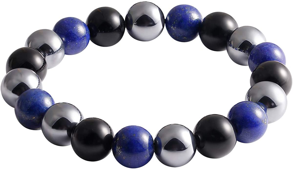 Jewever Triple Obsidian/Lapis Lazuli/Terahertz Energy Healing Crystal Bracelet Beads 10mm Stretch Unisex