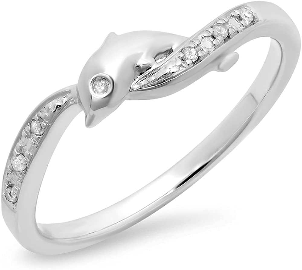 Dazzlingrock Collection 0.04 Carat (ctw) 10K Round Cut White Diamond Ladies Right Hand Dolphin Ring, White Gold