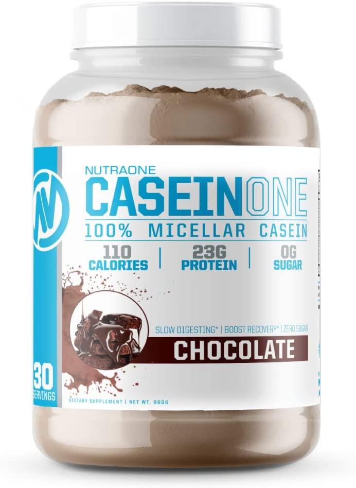 CaseinOne Casein Protein Powder by NutraOne – No Sugar 100% Casein Protein Powder (Chocolate – 2.11 lbs.)