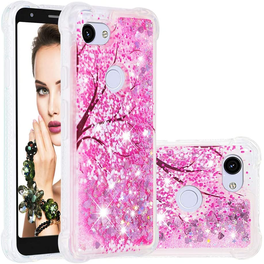 COTDINFORCA for Google Pixel 3a Case, Google Pixel 3a Case 3D Cute Girls Women Glitter Liquid Floating Luxury Shockproof Protective Silicone Cover Case for Google Pixel 3a. Liquid - Cherry Blossoms