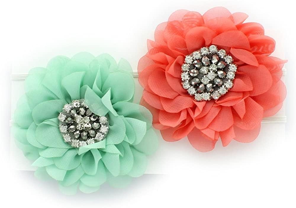 My Lello Infant Girls Baby Flower Headbands Chiffon Jewel Center 2 Pack