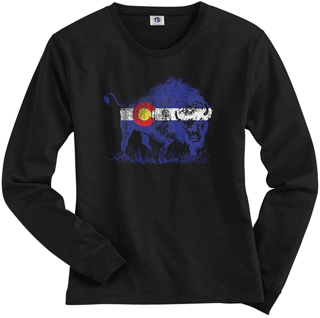 Threadrock Women's Buffalo Colorado Flag Long Sleeve T-Shirt
