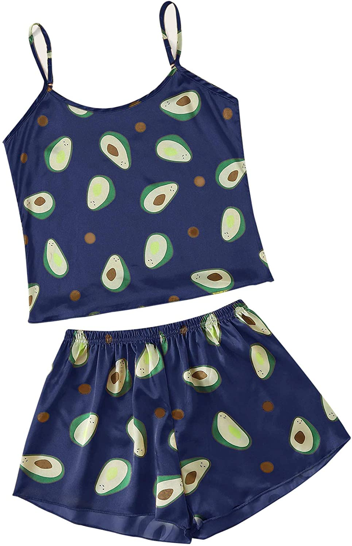 Floerns Women's Sleeveless Avocado Tropical Print Cami Sleepwear Pajama Set