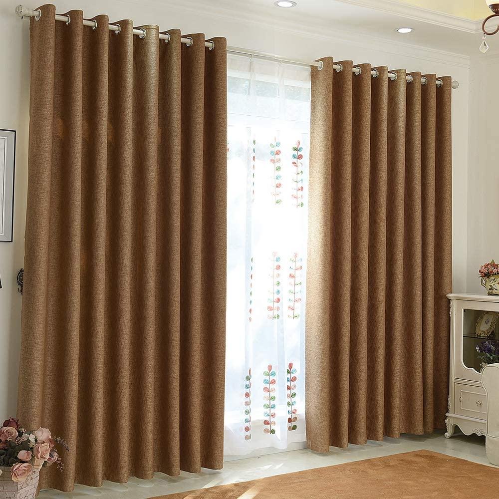 BHUSB Khaki Linen Blackout Curtains for Bedroom 63