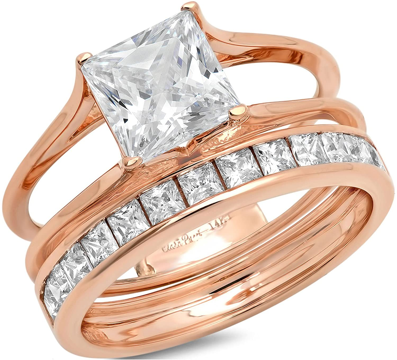Clara Pucci 3.40 CT Princess Cut Simulated Diamond CZ Pave Halo Bridal Engagement Wedding Ring Band Set 14k Rose Gold