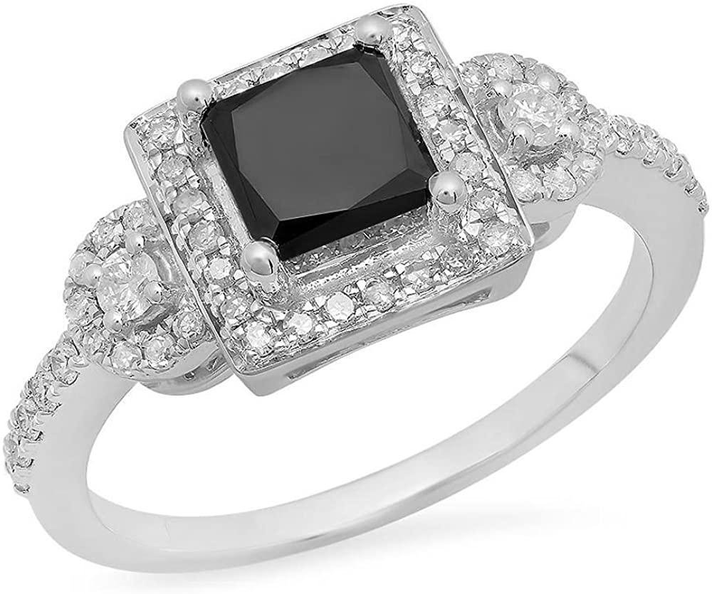 Dazzlingrock Collection 1.90 Carat (ctw) 10K Gold Princess & Round Cut Black & White Diamond Bridal Engagement Ring