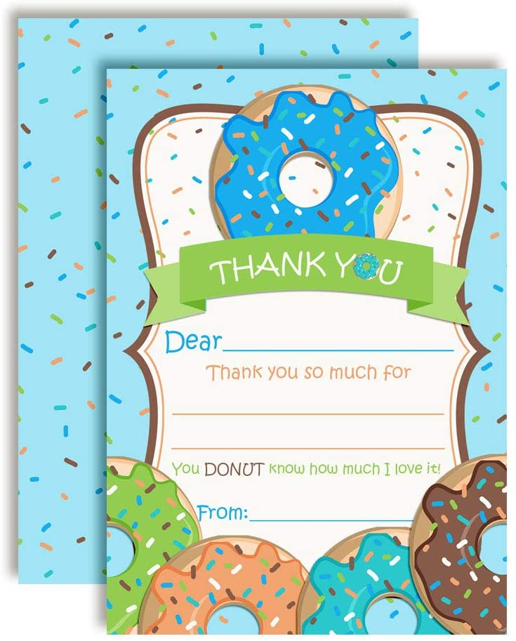 Donut Grow Up Thank You Notes for Boys, Ten 4