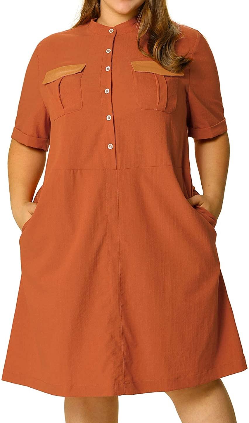 Agnes Orinda Womens Plus Size Shirt Dresse Button Down Casual Midi Dress