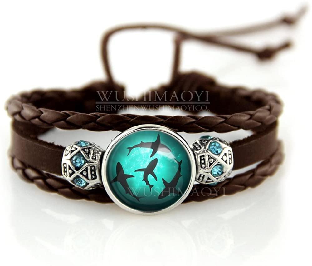 WUSHIMAOYI Circling Sharks Bracelet Personalized Jewelry Leather Bracelet Gifts Customize Your Own Style