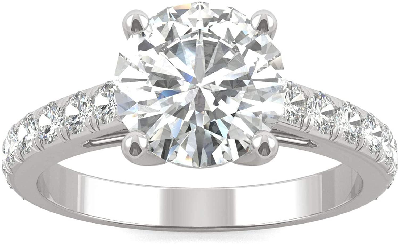 14K White Gold Moissanite by Charles & Colvard 8mm Round Engagement Ring, 2.38cttw DEW