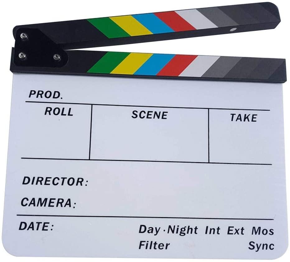 heaven2017 Director's Film Clapboard Cut Action Scene Clapper Board Slate Acrylic Movie Clapper Board